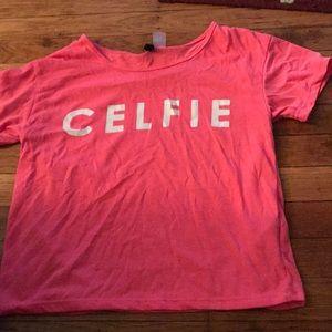 Celfie (selfie) pink T-shirt